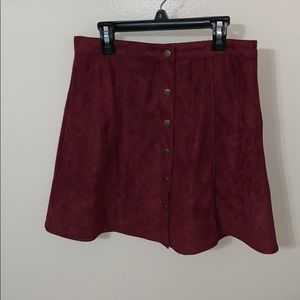 Dresses & Skirts - Maroon Suede Skirt with Gold Buttons